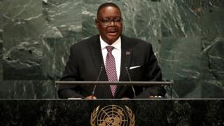 Peter Mutharika habló ante la Asamblea General de Naciones Unidas el 20 de septiembre.