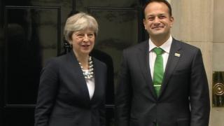 Theresa May greets Leo Varadkar