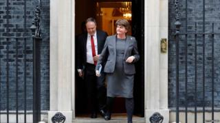 Arlene Foster and Nigel Dodds leave No 10 Downing Street in September 2019