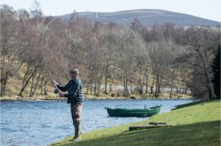 Fly fishing on the Tulchan estate on the River Spey in Scotland near Grantown-on-Spey