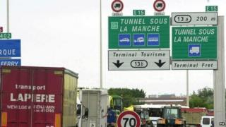 Signs at Channel Tunnel