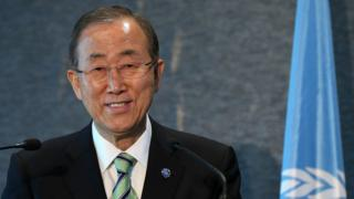 UN Secretary-General Ban Ki-Moon speaks at a news conference in New Zealand in September