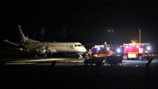 Loganair plane after landing