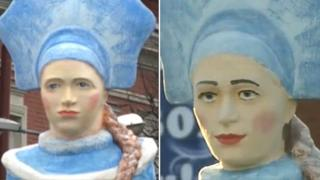 A before and after composite image of the Snow Maiden