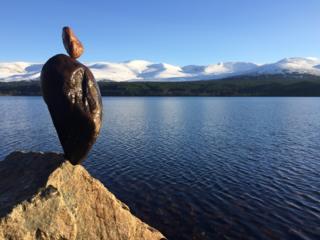 Balanced stones at Loch Morlich.