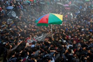 People carry the body of Zakir Rashid Bhat also known as Zakir Musa, the leader of an al Qaeda affiliated militant group in Kashmir, during his funeral procession in Dadasara village in south Kashmir