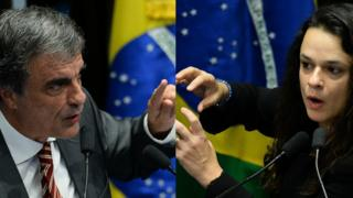 Eduardo Cardozo e Janaina Paschoal durante processo de impeachment de Dilma