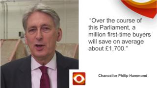 Philip Hammond saying: Over the course of this Parliament, a million first-time buyers will save on average about £1,700.
