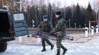 Belarusian border guards capture drone on rails, January 2018