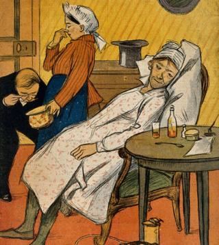 Doctor examina excrementos. Litografía posiblemente de F. Sottlolez