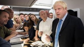 Boris Johnson on board the RAF Voyager jet to New York