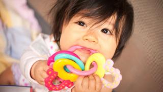 Baby girl teething