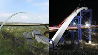 The new bridge over the A465 Heads of the Valleys road