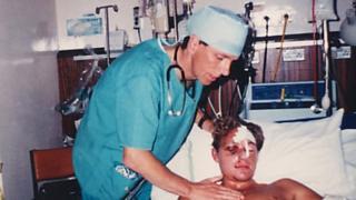 Dominic Hurley in hospital in 1994
