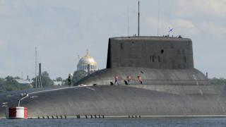 The Russian submarine Dmitry Donskoy, the world's largest in active service, arrives at Kronstadt Navy base, outside Saint Petersburg, on July 26, 2017