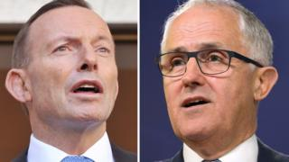 This combo of file photos shows Malcolm Turnbull (R) speaking at a press conference in Sydney September 24, 2013 and Tony Abbott (L) speaking at Parliament House in Canberra on September 9, 2015