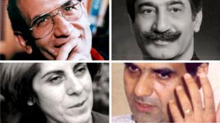 Clockwise: Mohammad Mokhtari, Dariush Forouhar, Mohammad Jafar Pouyandeh and Parvaneh Forouhar