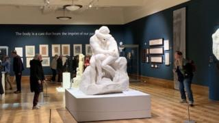 Rodin's The Kiss on display at Christchurch Mansion in Ipswich