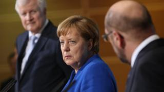 アンゲラ・メルケル氏はキリスト教社会同盟(CSU)と社会民主党(SPD)の党首と連立協議を行ってきた
