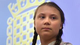 Greta Thunberg speaking at Parliament