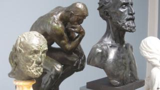 The Man with the Broken Nose by Auguste Rodin, left, in Glypoteket, Copenhagen
