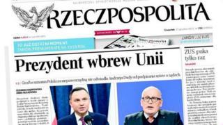 Front page of Rzeczpospolita newspaper