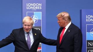 英国首相约翰逊与美国总统特朗普参加2019年12月在伦敦举行的北约峰会