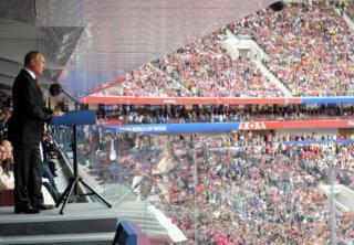 O presidente da Rússia, Vladimir Putin, em discurso na abertura da Copa