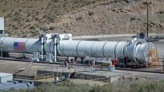 Solid rocket booster at test site in Utah