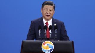 習近平在北京「一帶一路」國際峰會開幕式上演講(中新社圖片14/5/2017)