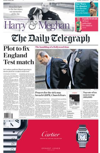 The Telegraph front page Saturday