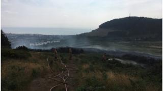 The fire service are dealing with a gorse fire close to Tollymore Forest Park