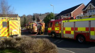 Fire engine at the scene