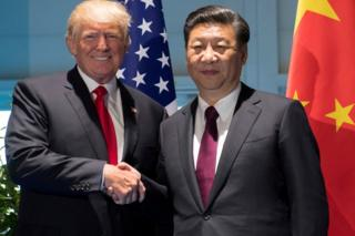 Donald Trump (left) with Xi Jinping in Hamburg, Germany, 8 July