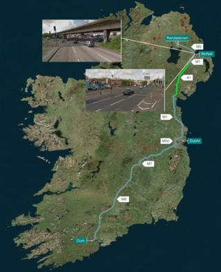 Road map from Randalstown to Cork