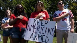 Manifestantes pro-armas en EE.UU.