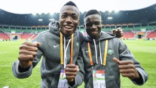 Aliu Salawudeen and Maxwell Effiom of Nigeria U-20 dey Tychy Stadium for Poland