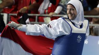 Egypt's Hedaya Wahba celebrating after winning a taekwondo medal in Rio, Brazil - Thursday 18 August 2016