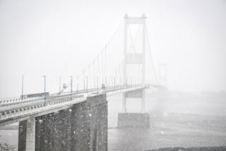 The Severn Bridge in the snow