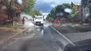 Van driver splashing pedestrians in Ottawa