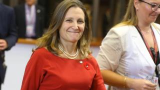 Canadian Minister of International Trade Chrystia Freeland arrives for the EU-Canada summit meeting on October 30, 2016 at the European Union headquarters in Brussels.