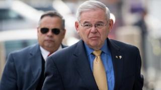 Senator Bob Menendez arrives at federal court on 14 November in Newark, New Jersey.