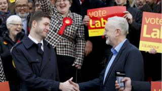 Jim McMahon and Jeremy Corbyn shake hands in front of Labour supporters