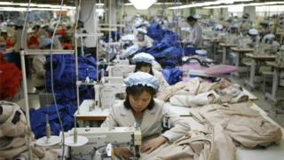 North Korean workers at a factory in Kaesong