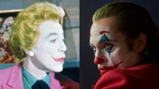 César Romero (izq.) y Joaquín Phoenix en sus diferentes interpretaciones de Joker