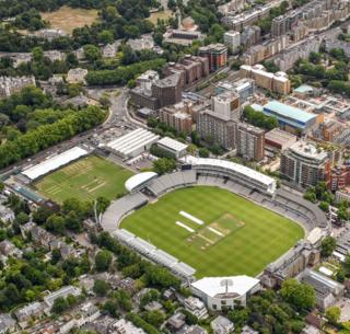 Lord's cricket ground in St John's Wood, London, is seen with green grass