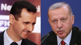 صورة تجمع الرئيس السوري بشار الأسد والرئيس التركي رجب طيب أردوغان