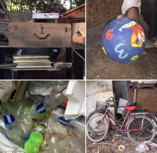 Plastic bottles of Coca-Cola's Glaceau Smartwater, photo albums, a brown suitcase, a ball and bicycles.