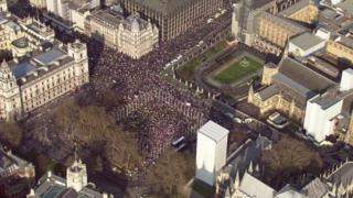 Parliament Square aerial shots of thousands of Leave supporters