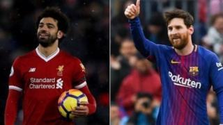 Mohamed Salah kushoto na mshambuiaji wa Barcelona nyota Lionel Messi kulia